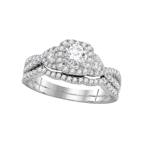 14kt White Gold Womens Round Diamond Bridal Wedding Engagement Ring Band Set 1.00 Cttw - 106264-5.5