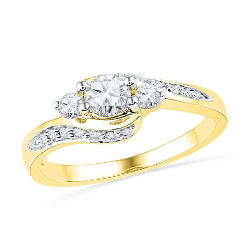 10k Yellow Gold Womens Round Diamond Bridal Wedding Engagement Anniversary Ring 1/2 Cttw - 101388-10.5