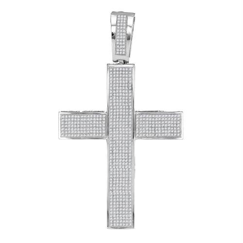 10kt White Gold Mens Round Diamond Roman Cross Religious Charm Pendant 1-3/4 Cttw