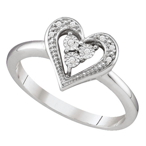 10kt White Gold Womens Round Diamond-accent Heart Cluster Ring .02 Cttw