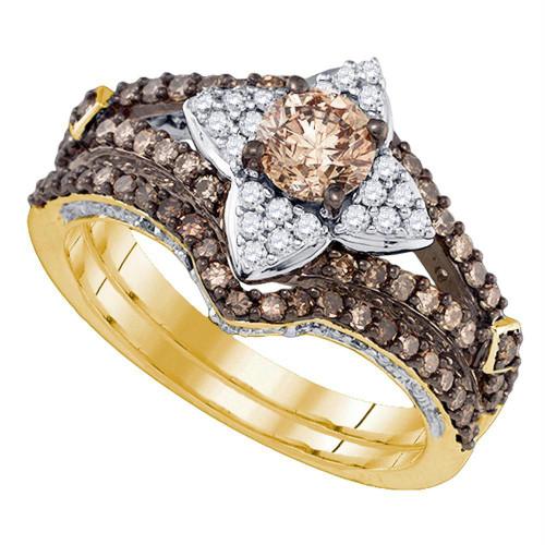 14kt Yellow Gold Womens Cognac-brown Color Enhanced Diamond Bridal Wedding Engagement Ring Band Set 1-1/3 Cttw