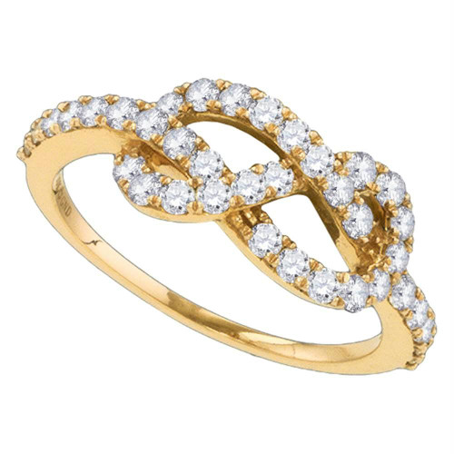 10k Rose Gold Womens Round Diamond Infinity Woven Love Anniversary Ring 3/4 Cttw