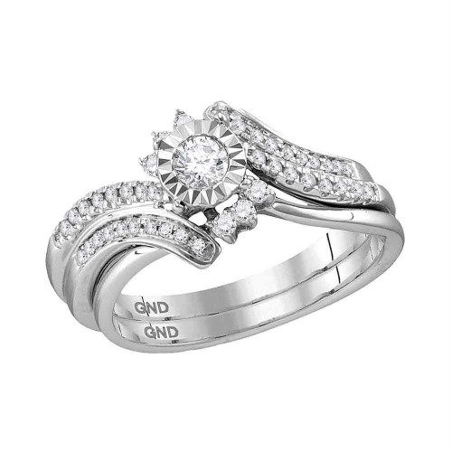 14kt White Gold Womens Round Diamond Bridal Wedding Engagement Ring Band Set 3/8 Cttw