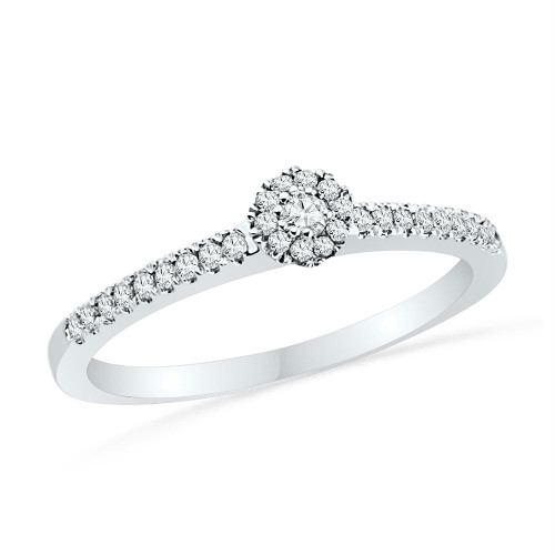 10kt White Gold Womens Round Diamond Solitaire Halo Promise Bridal Ring 1/6 Cttw