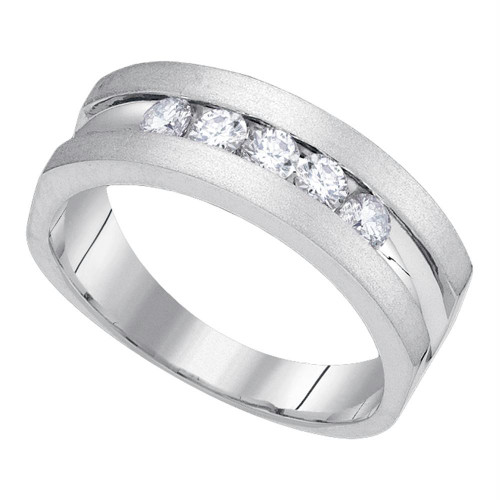 10kt White Gold Mens Round Diamond Wedding Band Ring 1/2 Cttw - 85671-8