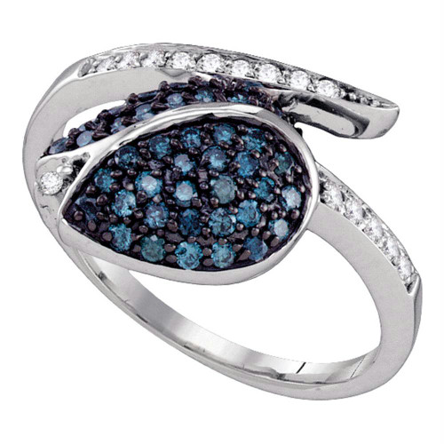 10k White Gold Blue Color Enhanced Diamond Womens Womens Classy Tulip Flower Cluster Ring 1/2 Cttw