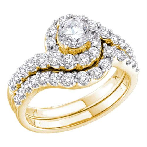 14kt Yellow Gold Womens Round Diamond Bridal Wedding Engagement Ring Band Set 1-3/8 Cttw