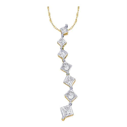 14kt Yellow Gold Womens Princess Diamond Graduated Journey Pendant 1/4 Cttw