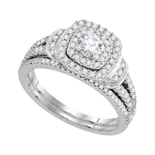 14kt White Gold Womens Diamond Round Double Halo Bridal Wedding Engagement Ring Band Set 1 Cttw