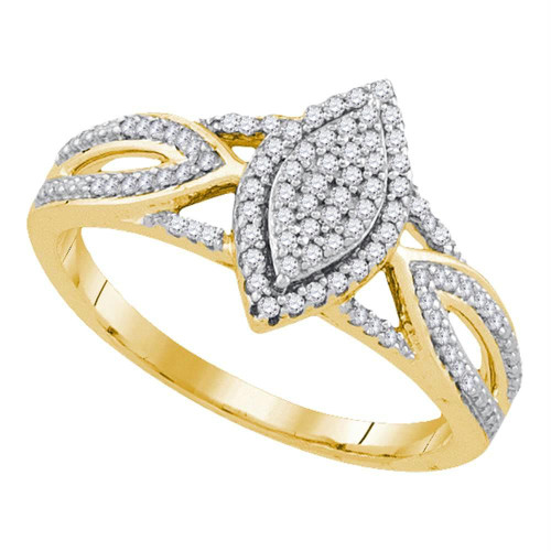 10kt Yellow Gold Womens Round Diamond Marquise-shape Cluster Bridal Wedding Engagement Ring 1/4 Cttw