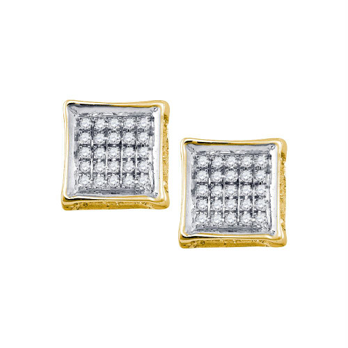 10kt Yellow Gold Mens Round Diamond Square Cluster Stud Earrings 1/8 Cttw