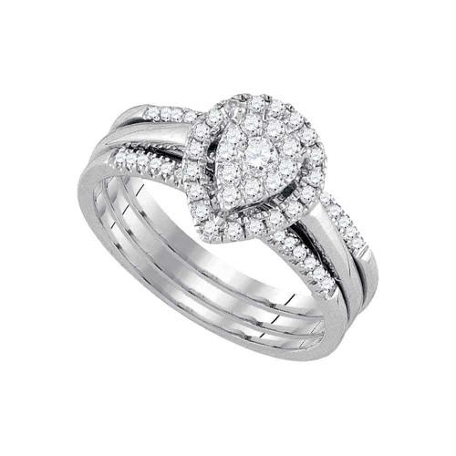 14k White Gold Round Diamond Teardrop Cluster 3-Piece Bridal Wedding Engagement Ring Set 1/2 Cttw