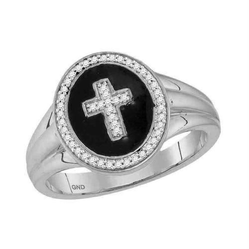 10kt White Gold Mens Round Diamond Cross Crucifix Fashion Ring 1/6 Cttw