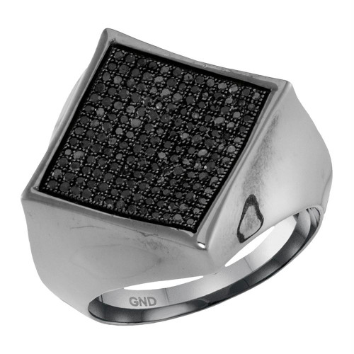 10kt White Gold Mens Round Black Color Enhanced Diamond Square Cluster Ring 1/2 Cttw