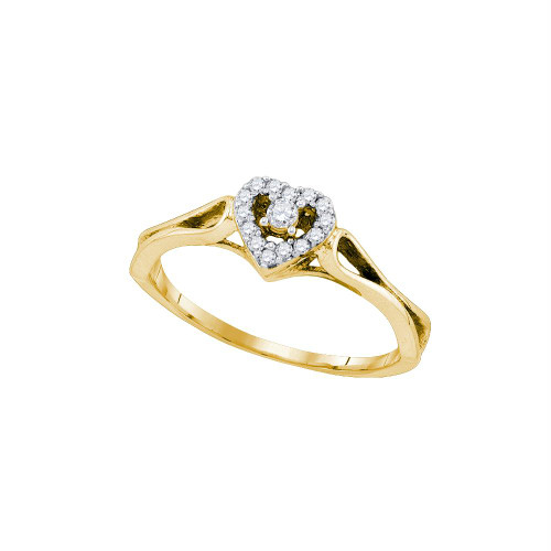 10kt Yellow Gold Womens Round Diamond Heart Love Promise Bridal Ring 1/10 Cttw