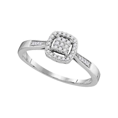 10kt White Gold Womens Round Diamond Cluster Bridal Wedding Engagement Ring 1/8 Cttw