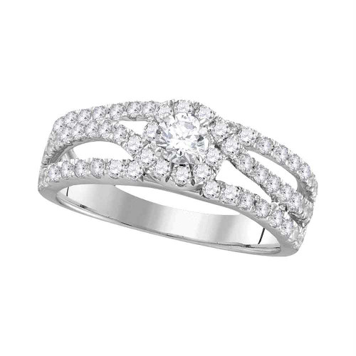 14kt White Gold Womens Round Diamond Solitaire Open Bridal Wedding Engagement Ring 1.00 Cttw