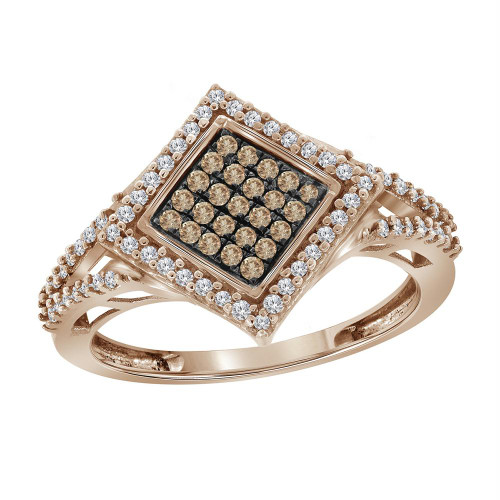 10kt Rose Gold Womens Round Red Color Enhanced Diamond Square Fashion Ring 1/3 Cttw