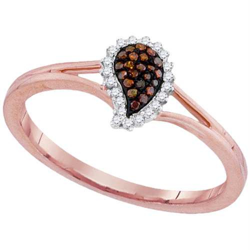 10kt Rose Gold Womens Round Red Color Enhanced Diamond Teardrop Cluster Ring 1/10 Cttw