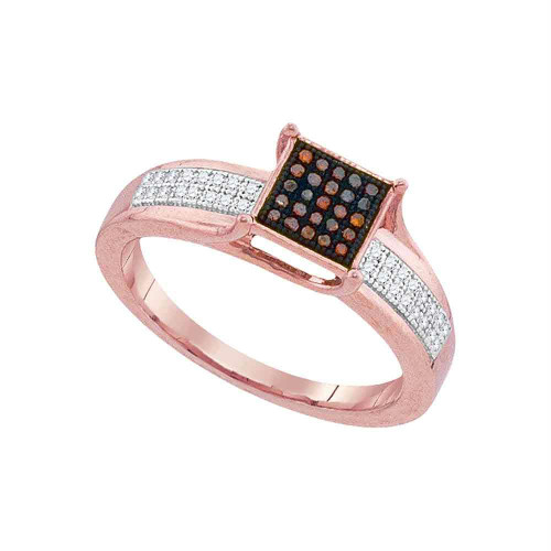 10kt Rose Gold Womens Round Red Color Enhanced Diamond Square Cluster Ring 1/6 Cttw