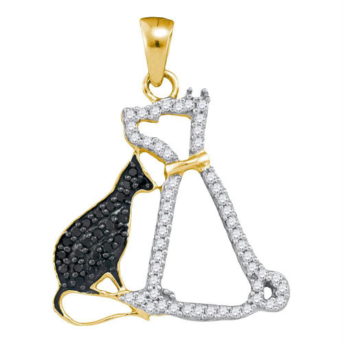 10kt Yellow Gold Womens Round Black Color Enhanced Diamond Kitty Cat Feline Animal Pendant 1/4 Cttw