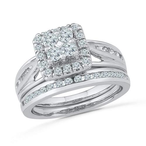 10kt White Gold Womens Round Diamond Cluster Bridal Wedding Engagement Ring Band Set 1.00 Cttw