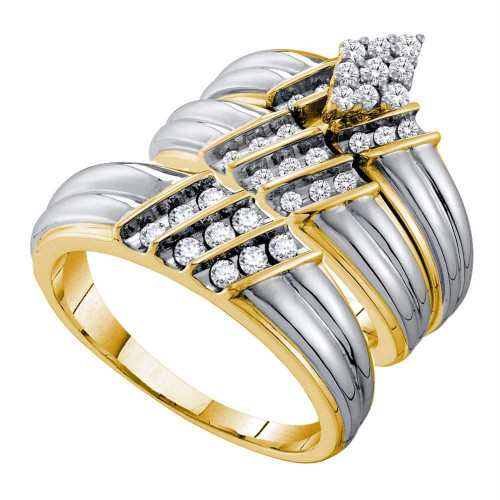 14kt Two-tone Gold His & Hers Round Diamond Cluster Matching Bridal Wedding Ring Band Set 3/4 Cttw