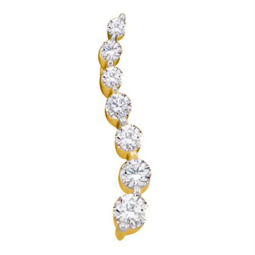 10kt Yellow Gold Womens Round Diamond Graduated Journey Pendant 1/4 Cttw