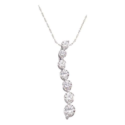 10kt White Gold Womens Round Pave-set Diamond Graduated Journey Pendant 1/4 Cttw