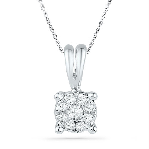 10kt White Gold Womens Round Diamond Cluster Pendant 1/10 Cttw