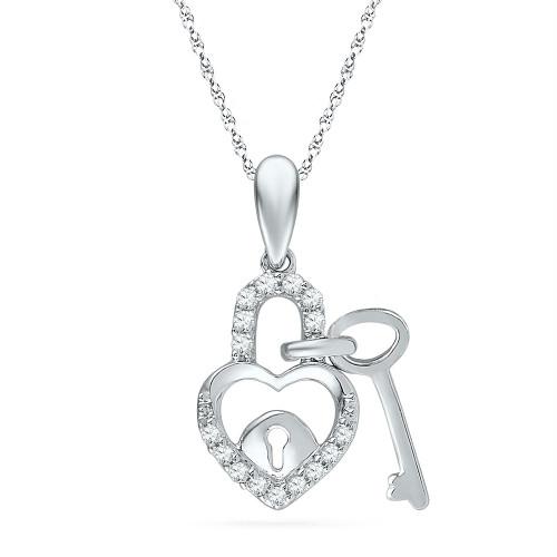 10kt White Gold Womens Round Diamond Heart Lock Key Dangle Pendant 1/10 Cttw