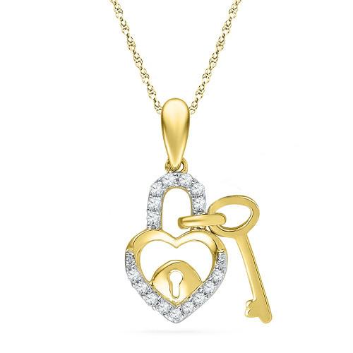 10kt Yellow Gold Womens Round Diamond Heart Lock Key Dangle Pendant 1/10 Cttw