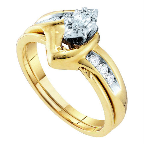 10kt Yellow Gold Womens Marquise Diamond Bridal Wedding Engagement Ring Band Set 1/4 Cttw - 17007-8