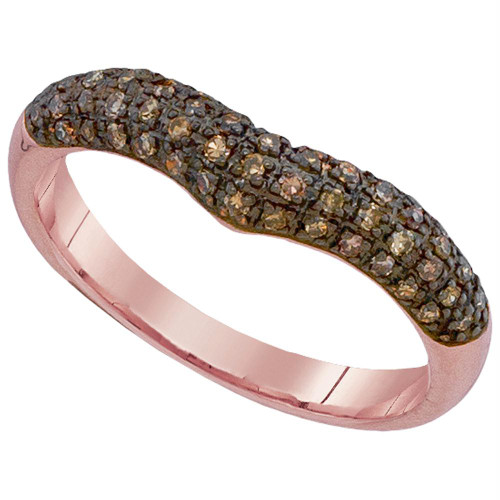 10kt Rose Gold Womens Round Cognac-brown Color Enhanced Diamond Chevron Band Ring 1/3 Cttw