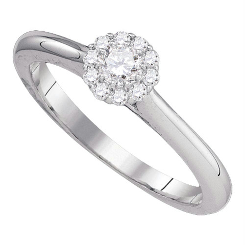 10kt White Gold Womens Round Diamond Solitaire Bridal Wedding Engagement Ring 1/4 Cttw - 77553-10.5