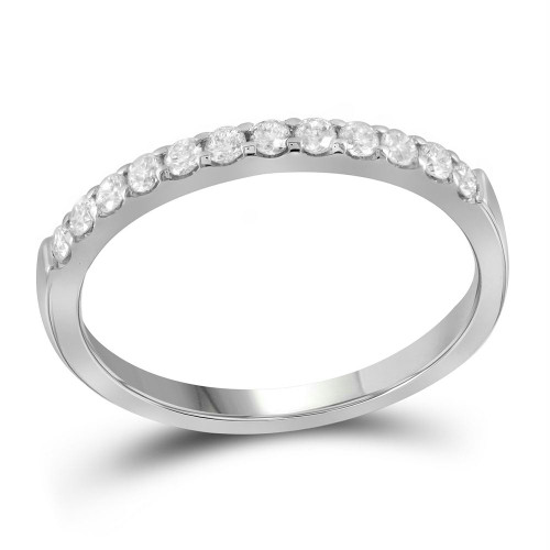14kt White Gold Womens Round Pave-set Diamond Single Row Wedding Band 1/4 Cttw - 99847-8.5