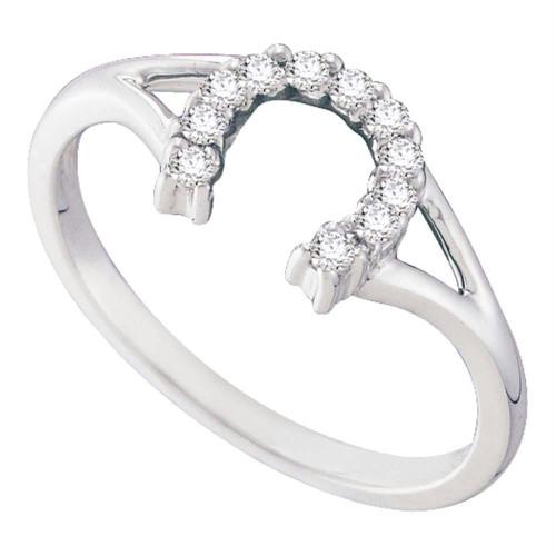 10kt White Gold Womens Round Diamond Lucky Horseshoe Split-shank Ring 1/10 Cttw