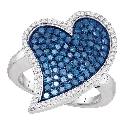 10kt White Gold Womens Round Blue Color Enhanced Diamond Large Heart Cluster Ring 1-1/2 Cttw