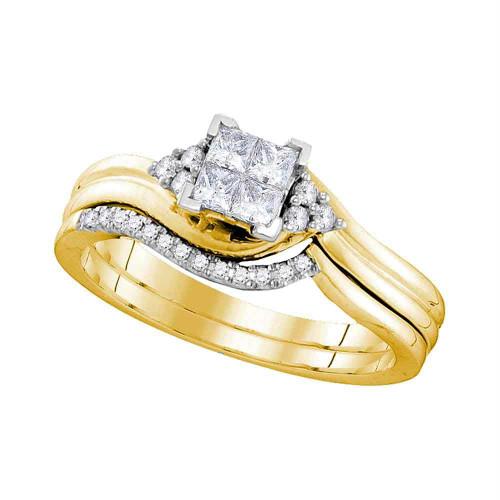 10k Yellow Gold Certified Princess Diamond Bridal Wedding Engagement Ring Band Set 1/3 Cttw