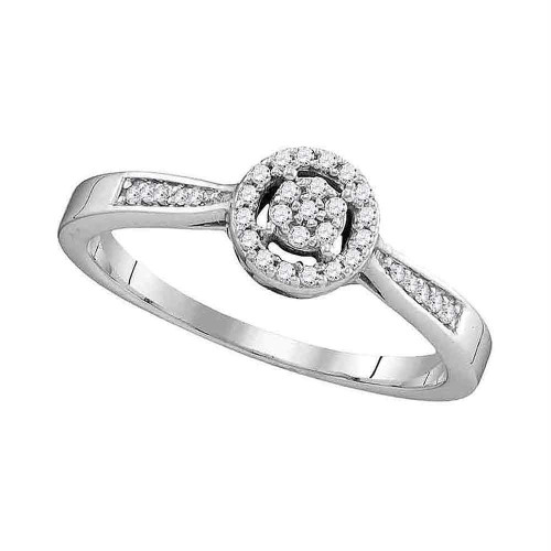 10kt White Gold Womens Round Diamond Cluster Bridal Wedding Engagement Ring 1/8 Cttw - 105792-9.5