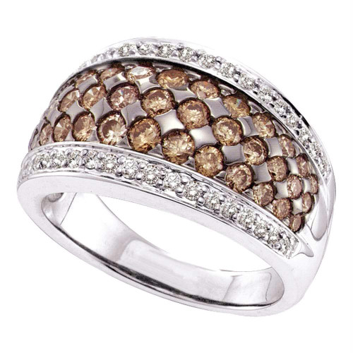 14kt White Gold Womens Round Brown Color Enhanced Diamond Fashion Ring 1-1/2 Cttw