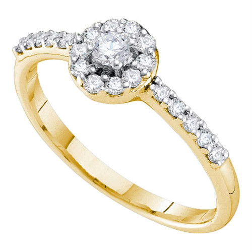 14kt Yellow Gold Womens Round Diamond Solitaire Bridal Wedding Engagement Ring 1/3 Cttw - 42562-10.5