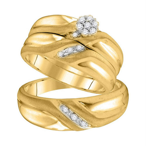 10kt Yellow Gold His & Hers Round Diamond Cluster Matching Bridal Wedding Ring Band Set 1/5 Cttw - 105908-6.5