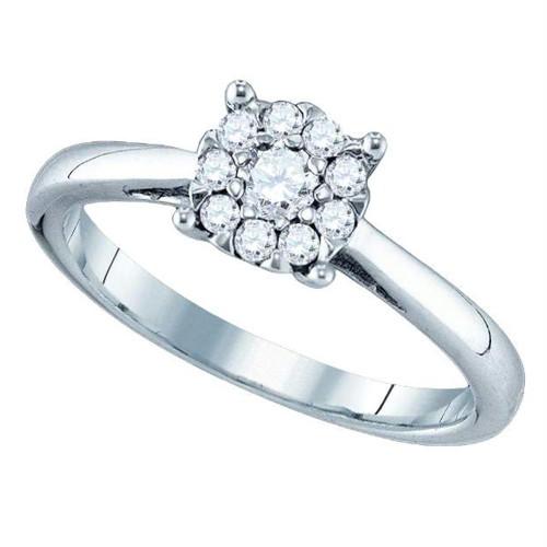 18kt White Gold Womens Round Diamond Cluster Bridal Wedding Engagement Ring 1/2 Cttw