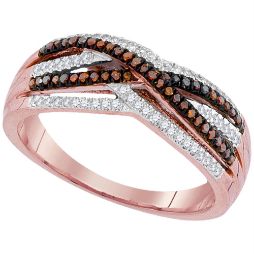 10kt Rose Gold Womens Round Red Color Enhanced Diamond Crossover Strand Band 1/4 Cttw