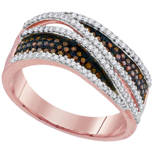 10kt Rose Gold Womens Round Red Color Enhanced Diamond Crossover Stripe Band Ring 1/2 Cttw