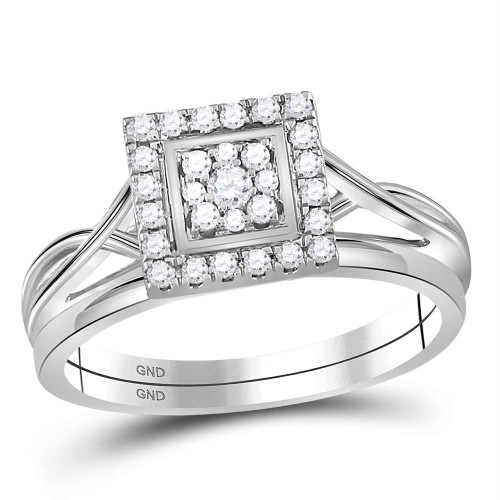 10kt White Gold Womens Round Diamond Square Cluster Bridal Wedding Engagement Ring Band Set 1/3 Cttw