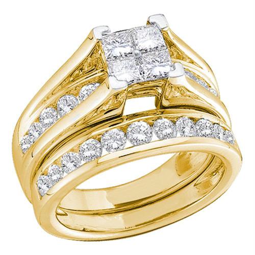14kt Yellow Gold Womens Princess Diamond Bridal Wedding Engagement Ring Band Set 1.00 Cttw - Size 7