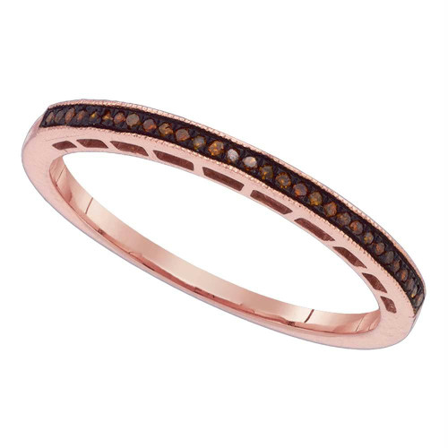 10k Pink Rose Gold Red Color Enhanced Round Diamond Womens Slender Wedding Anniversary Band 1/12 Cttw