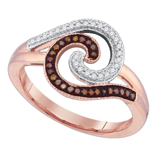 10kt Rose Gold Womens Round Red Color Enhanced Diamond Curl Fashion Ring 1/5 Cttw